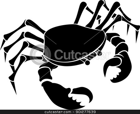 crab illustration stock vector clipart, Monochrome vector illustration of a stylised Crab  by Christos Georghiou