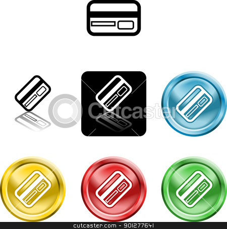 credit card icon symbol stock vector clipart, Several versions of an icon symbol of a stylised credit or debit card  by Christos Georghiou