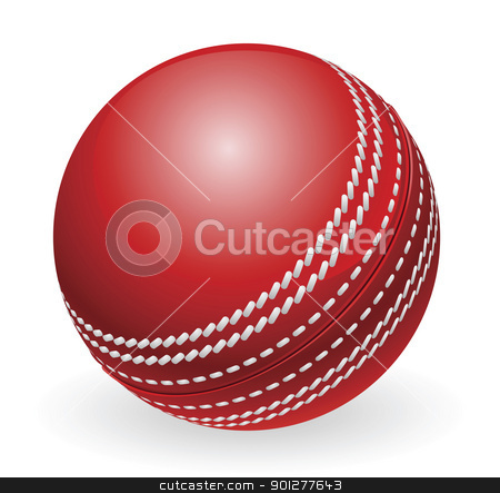 Shiny red traditional cricket ball stock vector clipart, Illustration of shiny red traditional cricket ball by Christos Georghiou