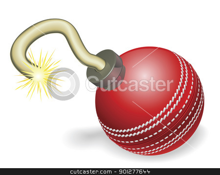 Cricket ball bomb concept stock vector clipart, Retro cartoon cricket ball cherry bomb with lit fuse burning down. Concept for countdown to big cricketing event or crisis. by Christos Georghiou