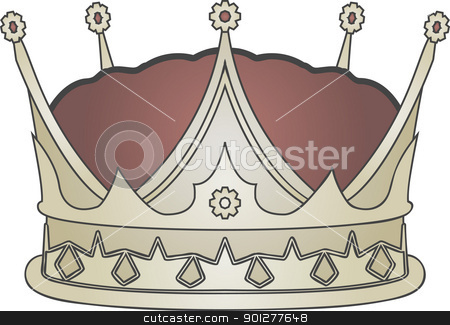 crown illustration stock vector clipart, A vector illustration of a gold royal crown  by Christos Georghiou