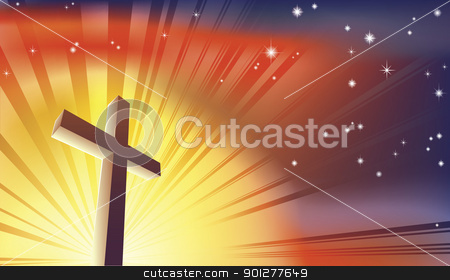 The Cross stock vector clipart, An awesome Christian cross bathed in light by Christos Georghiou