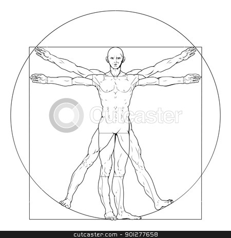 Vitruvian man stock vector clipart, Illustration based on Leonardo da Vinci's classic Vitruvian man by Christos Georghiou