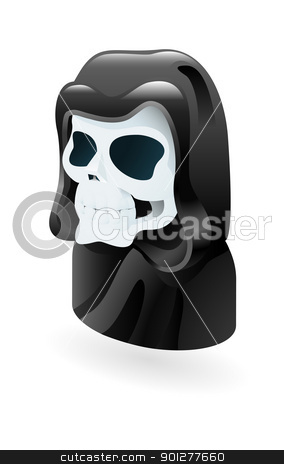 death illustration stock vector clipart, Illustration of a skull in black hood representing death by Christos Georghiou