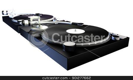 decks 3d illustration stock photo, 3D render of a DJs decks  by Christos Georghiou