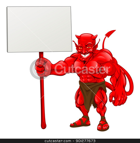 Devil standing holding sign stock vector clipart, A devil cartoon character illustration standing with sign by Christos Georghiou