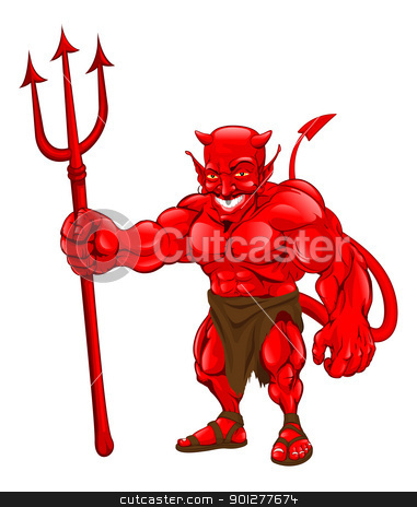 Devil standing with pitchfork stock vector clipart, A devil cartoon character illustration standing with pitchfork by Christos Georghiou