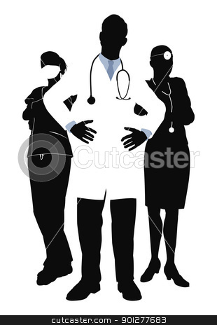 Medical team illustration stock vector clipart, Illutsration of three members of a medical team by Christos Georghiou