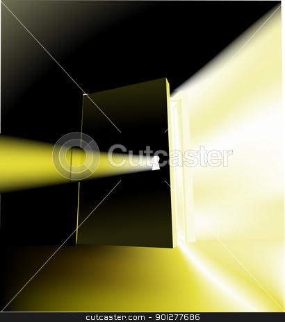 door concept illustration stock vector clipart, A door opening with something magical behind it, conceptual piece  by Christos Georghiou