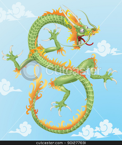 Chinese Dragon stock vector clipart, An illustration of an oriental style dragon.  by Christos Georghiou