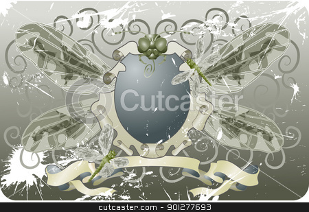 dragonfly shield illustration stock vector clipart, A grunge shield coat of arms with insects  by Christos Georghiou