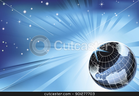 Sun rising over night time planet earth background stock vector clipart, The sun rising over night time planet earth globe with city lights background by Christos Georghiou