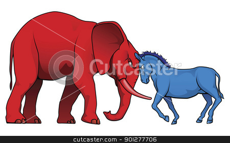 American political parties stand-off stock vector clipart, The democrat and republican symbols of a donkey and elephant facing off.  by Christos Georghiou