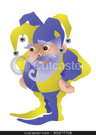 Funny Jester illustration stock vector clipart, An illustration of a cute old jester  by Christos Georghiou