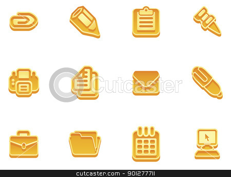 business and office icons stock vector clipart, illustration of a set of business and office icons by Christos Georghiou