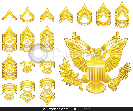 american army enlisted rank insignia icons stock vector clipart, Set of military american army enlisted rank insignia icons by Christos Georghiou