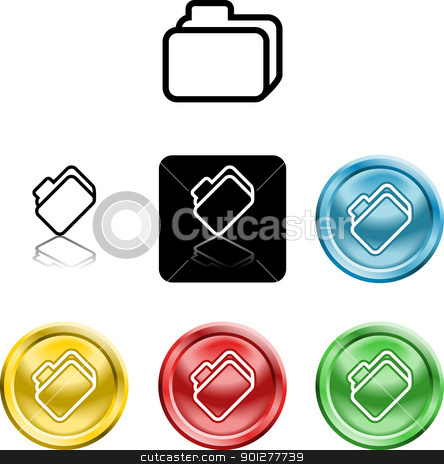 file document folder icon symbol stock vector clipart, Several versions of an icon symbol of a stylised file folder   by Christos Georghiou