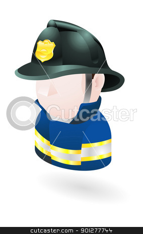 fireman illustration stock vector clipart, Illustration of a fireman by Christos Georghiou