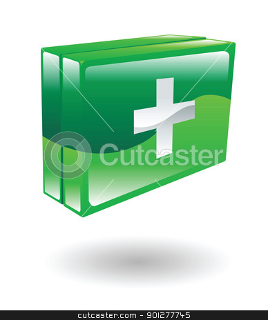 firstaidkit Illustration stock vector clipart, Illustration of a green first aid kit by Christos Georghiou