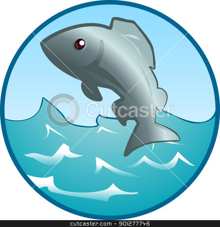 Jumping fish Illustration stock vector clipart, An illustration of a fish jumping out of the water.  by Christos Georghiou