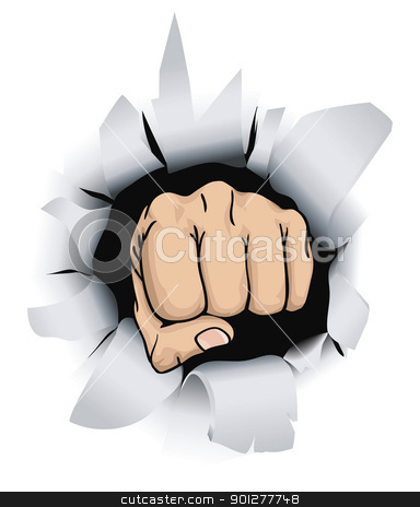 fist illustration stock vector clipart, An illustration of a fist breaking through a wall, conceptual piece  by Christos Georghiou