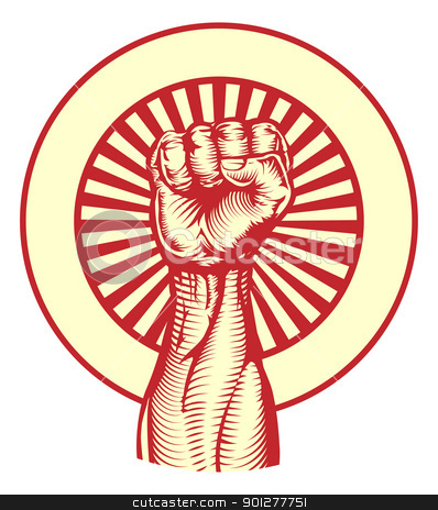 Soviet propaganda poster style fist stock vector clipart, Soviet cold war propaganda poster style revolution fist raised in the air by Christos Georghiou