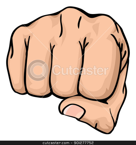 a fist punching towards you stock vector clipart, an illustration of a front view of a right human hand punching towards you the viewer by Christos Georghiou