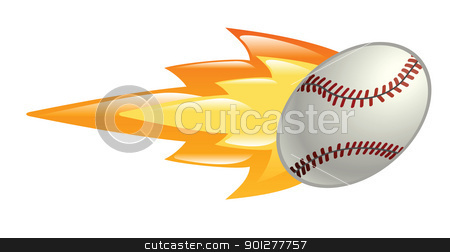 flaming baseball ball stock vector clipart, Illustration of a flaming baseball by Christos Georghiou