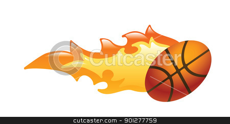 flaming basketball  Illustration stock vector clipart, Illustration of a flaming basketball by Christos Georghiou