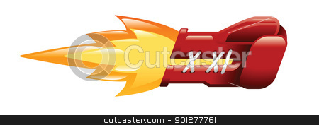 flaming boxing glove stock vector clipart, Illustration of a flaming boxing glove by Christos Georghiou