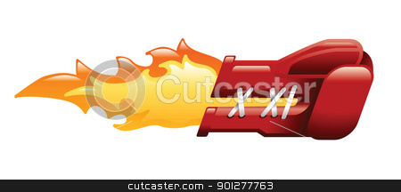 flaming boxing glove stock vector clipart, Ilustration of a flaming boxing glove by Christos Georghiou