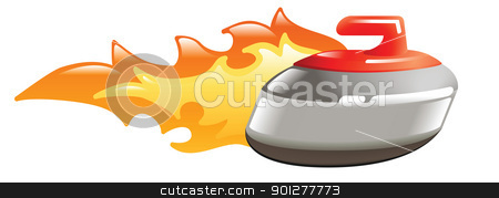 flaming curling stone stock vector