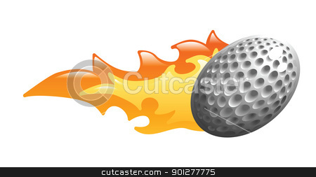 flaming golf ball stock vector clipart, Illustration of a flaming golf ball by Christos Georghiou