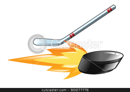 flaming hockey puck stock vector clipart, Illustration of a flaming hockey stick and puck by Christos Georghiou