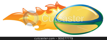 flaming rugby ball stock vector clipart, Illustration of a flaming rugby ball by Christos Georghiou