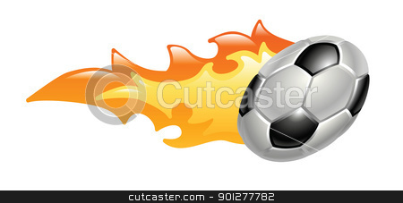 flaming soccer ball stock vector clipart, Ilustration of a flaming football soccer ball by Christos Georghiou
