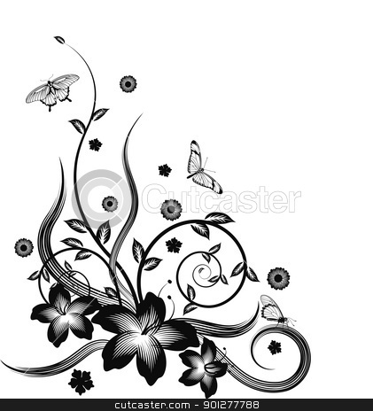 Gorgeous black corner floral design stock vector clipart, A gorgeous single colour  silhouette corner flower design with butterflies. by Christos Georghiou