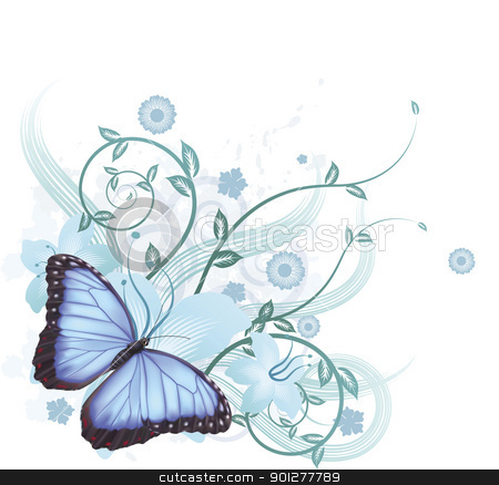 Beautiful blue butterfly background stock vector clipart, Beautiful floral background featuring hibiscus flowers and blue Morpho Peleides butterfly by Christos Georghiou
