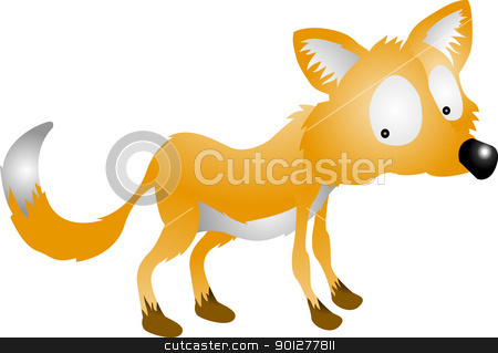 fox illustration stock vector clipart, A vector illustration of a cute cartoon fox character  by Christos Georghiou