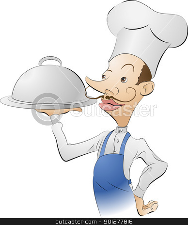 chef cook illustration stock vector clipart,  An illustration of a chef looking very pleased with himself  by Christos Georghiou