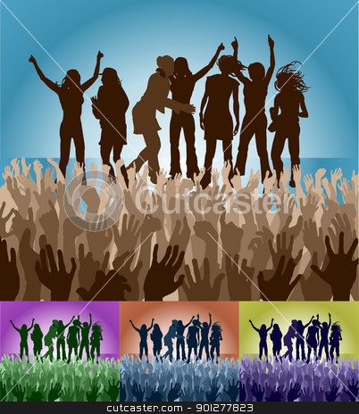 group of female friends on stage stock vector clipart, A group of female friends celebrating on stage in front of an adoring crowd. Vector file includes several different colour versions  by Christos Georghiou
