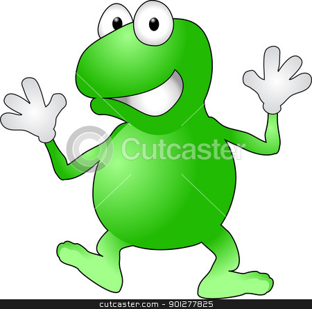 frog illustration stock vector clipart, An illustration of a jolly waving frog  by Christos Georghiou