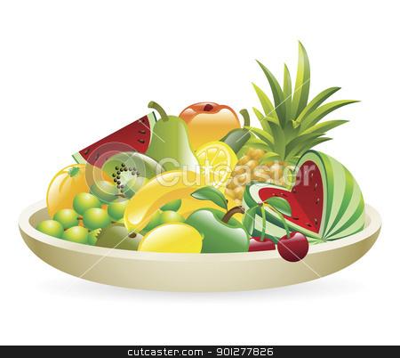 Bowl of fruit illustration stock vector clipart, An Illustration of a bowl of fruit by Christos Georghiou
