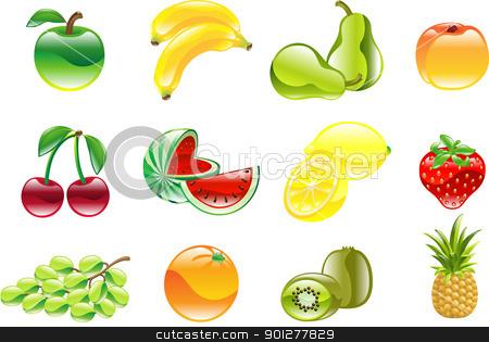 Gorgeous shiny fruit icon set stock vector clipart, A gorgeous shiny glossy fruit icon set by Christos Georghiou