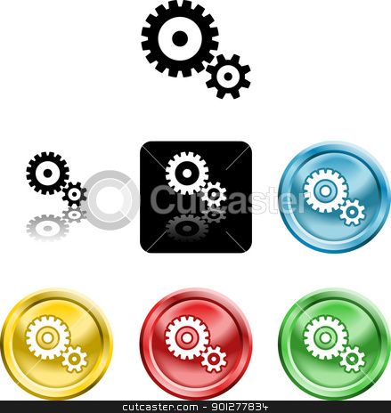 cog gears icon symbol icon stock vector clipart, Several versions of an icon symbol of stylised cog gears   by Christos Georghiou