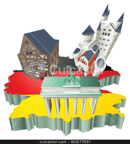Illustration German tourist attractions in Germany stock vector clipart, An illustration of some German tourist attractions in Germany. by Christos Georghiou