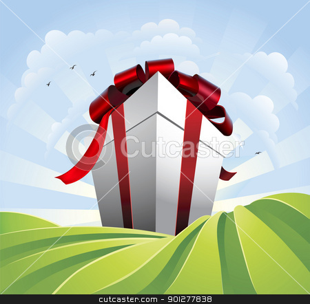 Giant gift in fields stock vector clipart, A huge gift. Conceptual illustration of a huge present with bow towering over fields. Could represent a massive sale or bargain. by Christos Georghiou