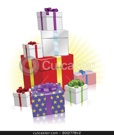 Lots of presents concept stock vector clipart, Stack of wrapped gifts for Christmas, Birthday or other celebration by Christos Georghiou