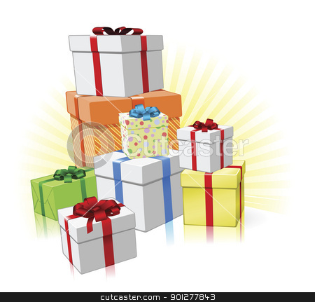Pile of presents concept stock vector clipart, Pile of lovingly wrapped gifts for Christmas, Birthday or other celebration by Christos Georghiou