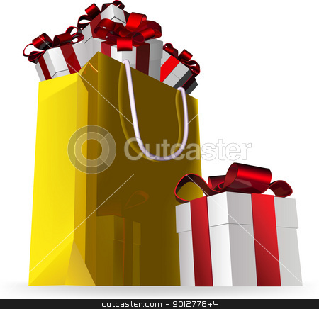 gift bag final and presents stock vector clipart, Illustration of a gift bag with presents by Christos Georghiou